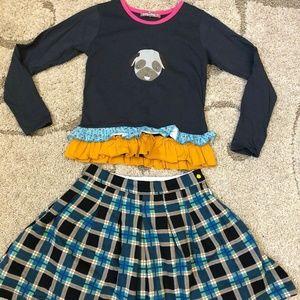 Jelly The Pug 12 Poppin Plaid Shirt & Skirt Set